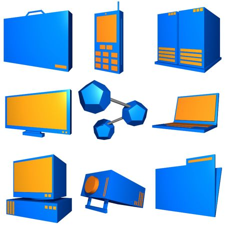 Information technology business icons and symbol set series - orange blue Stock Photo - 2523205