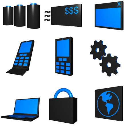 cel: Telco mobile industry icon and symbol set series - blue black