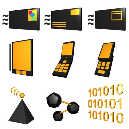 telco: Telco mobile industry icon and symbol set series - Black Orange
