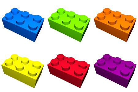 Construction blocks in different colors and isolated photo