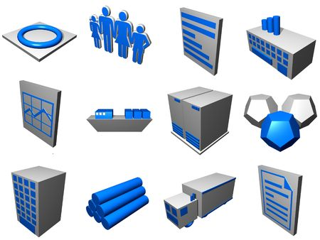 shipping supplies: Logistic supply chain diagram objects and symbols in a set. Stock Photo