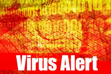 adware: Virus Alert Warning Message on abstract technology background Stock Photo