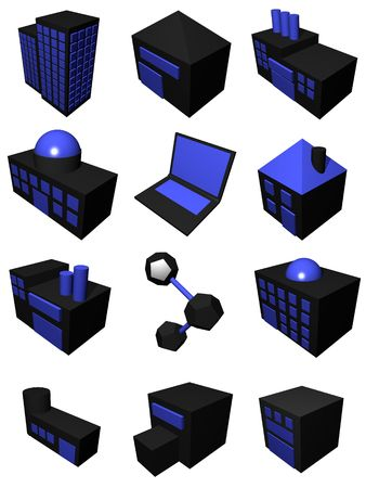 suppliers: Supply chain logistics diagram symbol set in black and blue Stock Photo