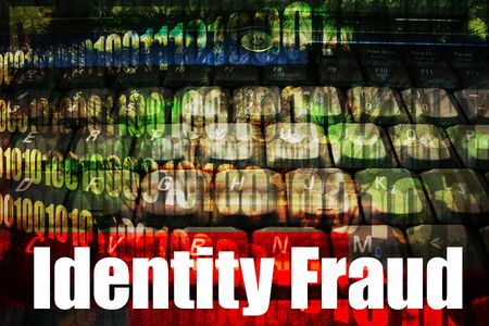 topics: Identity Fraud, a hot online web security topic for the internet Stock Photo