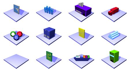 supplier: Distribution Process Colorful Icons For Supply Chain Diagram Stock Photo