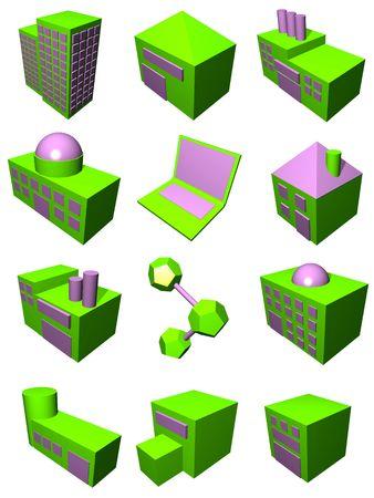 Supply chain logistics diagram symbol set in green and purple Stock Photo - 2598746