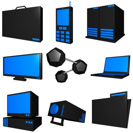 Information technology business icons and symbol set series - black blue Stock Photo - 2598739