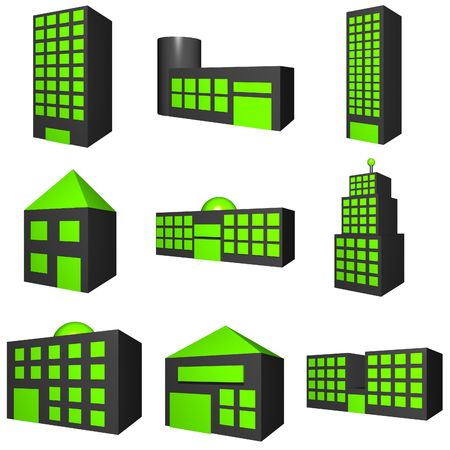 A set of building exters with different architectures in black Stock Photo - 2633536