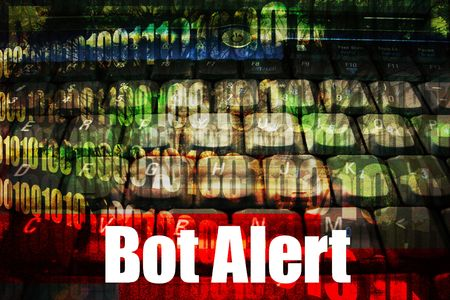 hijacked: Bot Alert Warning Message on abstract technology background Stock Photo