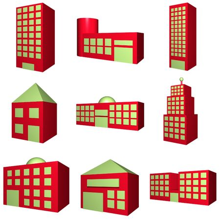 A set of buildings with different architectures in red photo