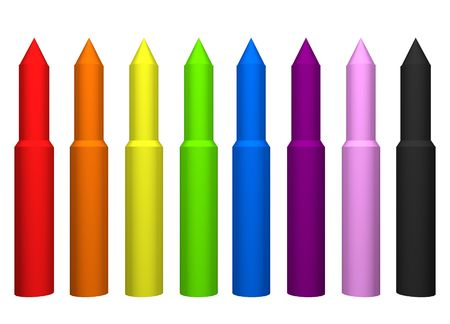 crayons or markers full set of bright colors photo