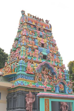 depictions: Indian Temple with brightly coloured depictions of gods Stock Photo