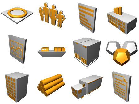 Logistics process buildings and icons set photo
