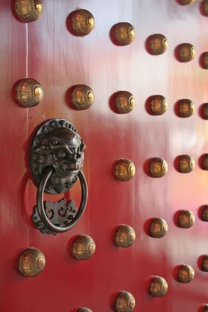 chinese door handle knocker with dragon lion engraving photo