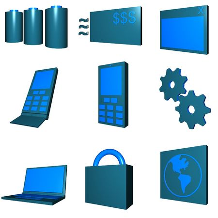 cel: Telco mobile industry icon and symbol set series - Green Blue Stock Photo