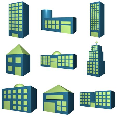 Buildings icon set in 3d blue and green Stock Photo - 2668456