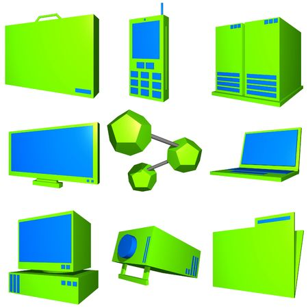 Information technology business icons and symbol set series - Blue Green Stock Photo - 2668455