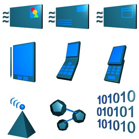 telco: Telco mobile industry icon and symbol set series - Green Blue Stock Photo