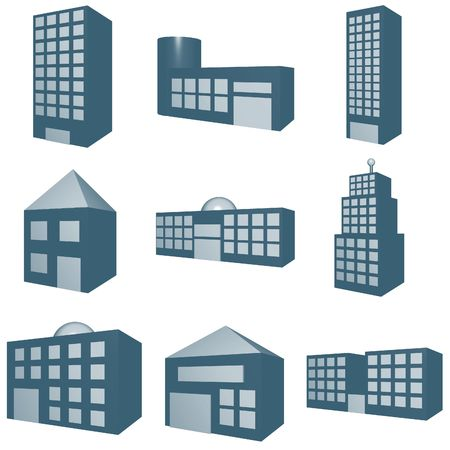 financial district: A set of architecture type clip art in 3d blue