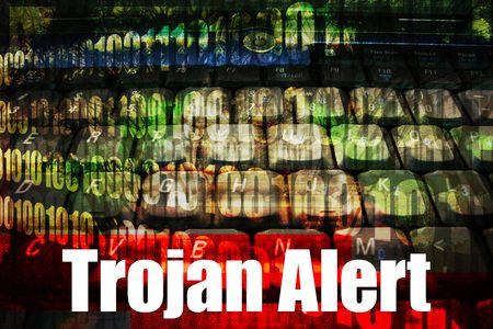 Trojan Alert Message Technology Background  photo