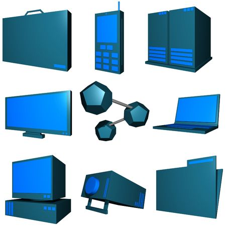 Information technology business icons and symbol set series - green blue photo
