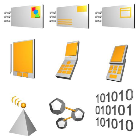telco: Telco mobile industry icon and symbol set series - Gray Orange