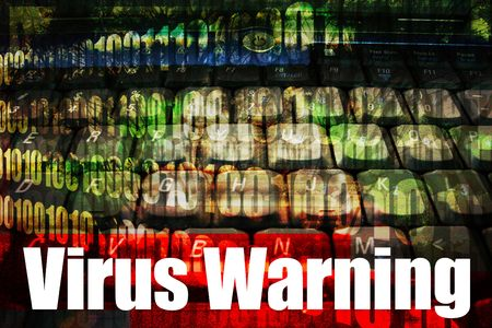 warned: Virus Warning Message on a Technology Background