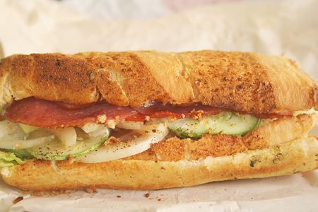 toasted: Foot long subway sandwich ready to be eaten and toasted