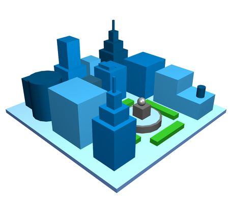 jpg: Cityscape Isolated Simple View on White Background