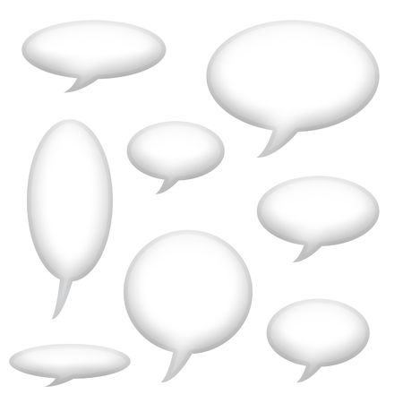 Speech Announcement Bubbles Isolated on White Background photo