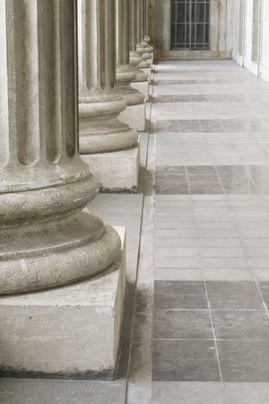 Stone Pillars outside the Parliament during the Day Stock Photo