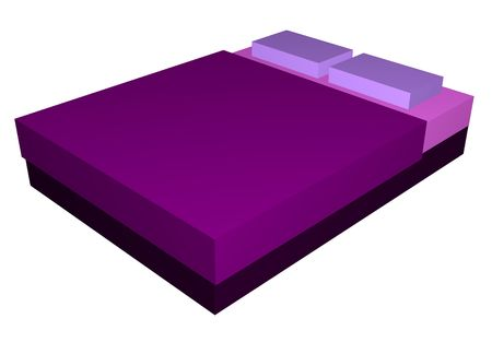 Bed in Purple Sheets Mattress Isolated on White Background   photo