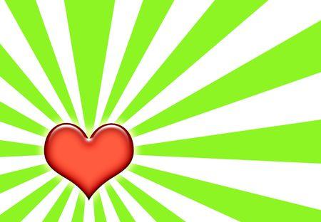 corazon: Emo Heart Wallpaper Background on Sunburst Green and White Stock Photo