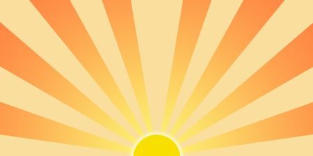 sun rising: Cartoony setting sun graphic clip art for backgrounds Stock Photo