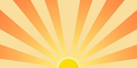 sun ray: Cartoony setting sun graphic clip art for backgrounds Stock Photo