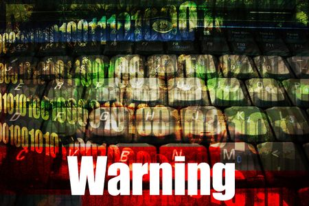 warned: Warning Message Alert on abstract technology background