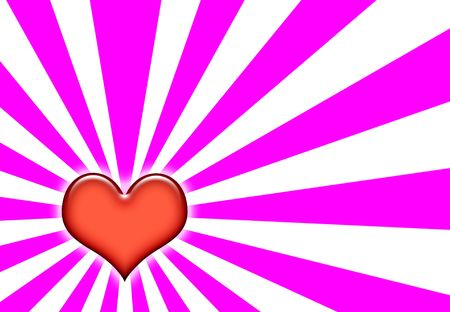 corazon:  Heart Wallpaper Background on Sunburst Pink and White