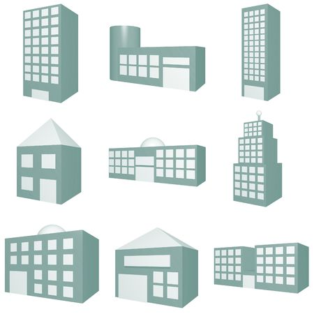 commercial real estate: Building Icon Set in Blue Tones Stock Photo