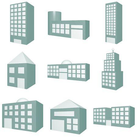 Building Icon Set in Blue Tones Stock Photo