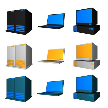 pcs: Computer, Notebook and Server in different colors set