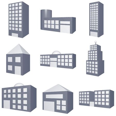 types: Different Types of Buildings Icons Set on White Background