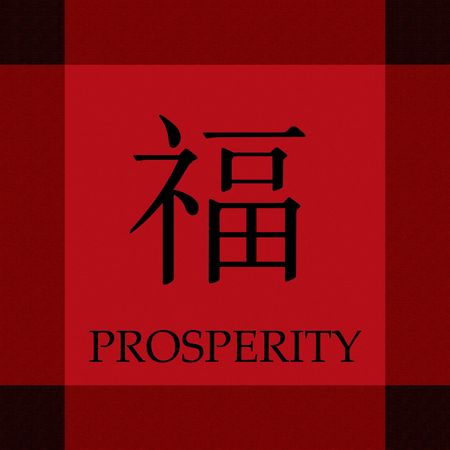 chinese word: Chinese Symbol of Prosperity and Wealth in a card template