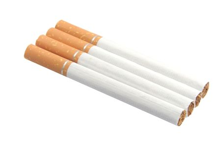 nicotine: Cigarettes with nicotine, tar and tobacco isolated on white background