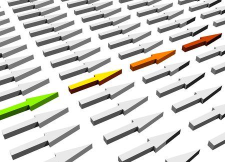 presentational: Upwards Trend Business Concept on White Background Stock Photo