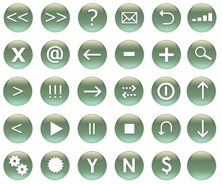 Icon Button Set For Navigation in Green photo