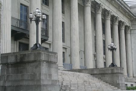 Law and Order Building with Stone Columns photo