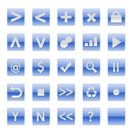 Simple Web Software Internet Buttons in Blue Tones photo