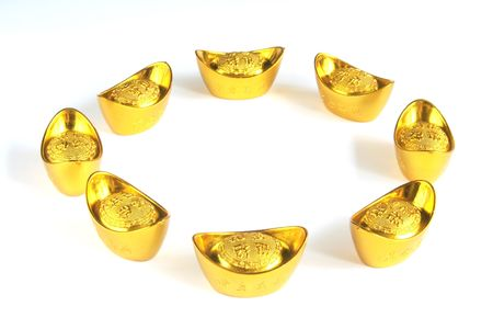 gold ingot: Strengthening Chinese Yuan Symbolized Through Gold Ingots