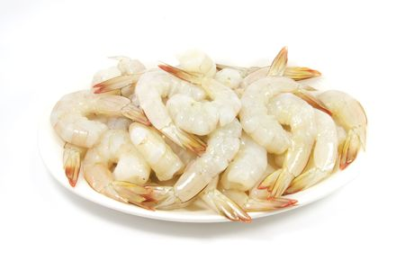 without: Plate of Raw Prawn Shrimps Without Shells Ready for Steamboat Meal