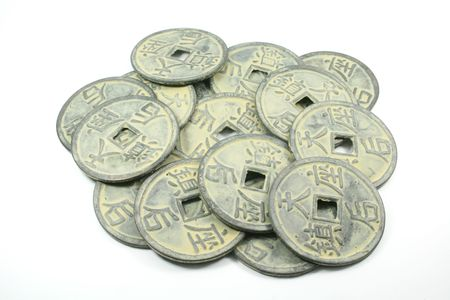 Chinese Currency From Ancient China Isolated on a White Background photo